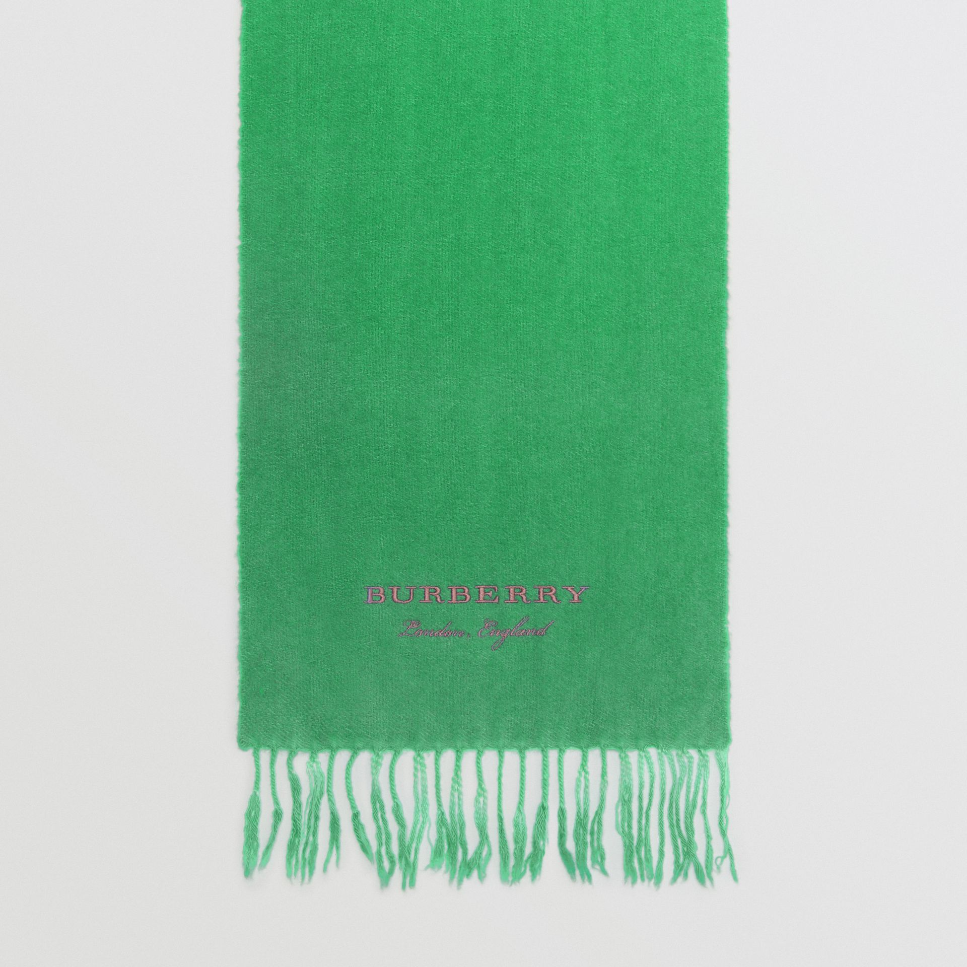 Embroidered Cashmere Fleece Scarf in Tourmaline Green | Burberry - gallery image 6