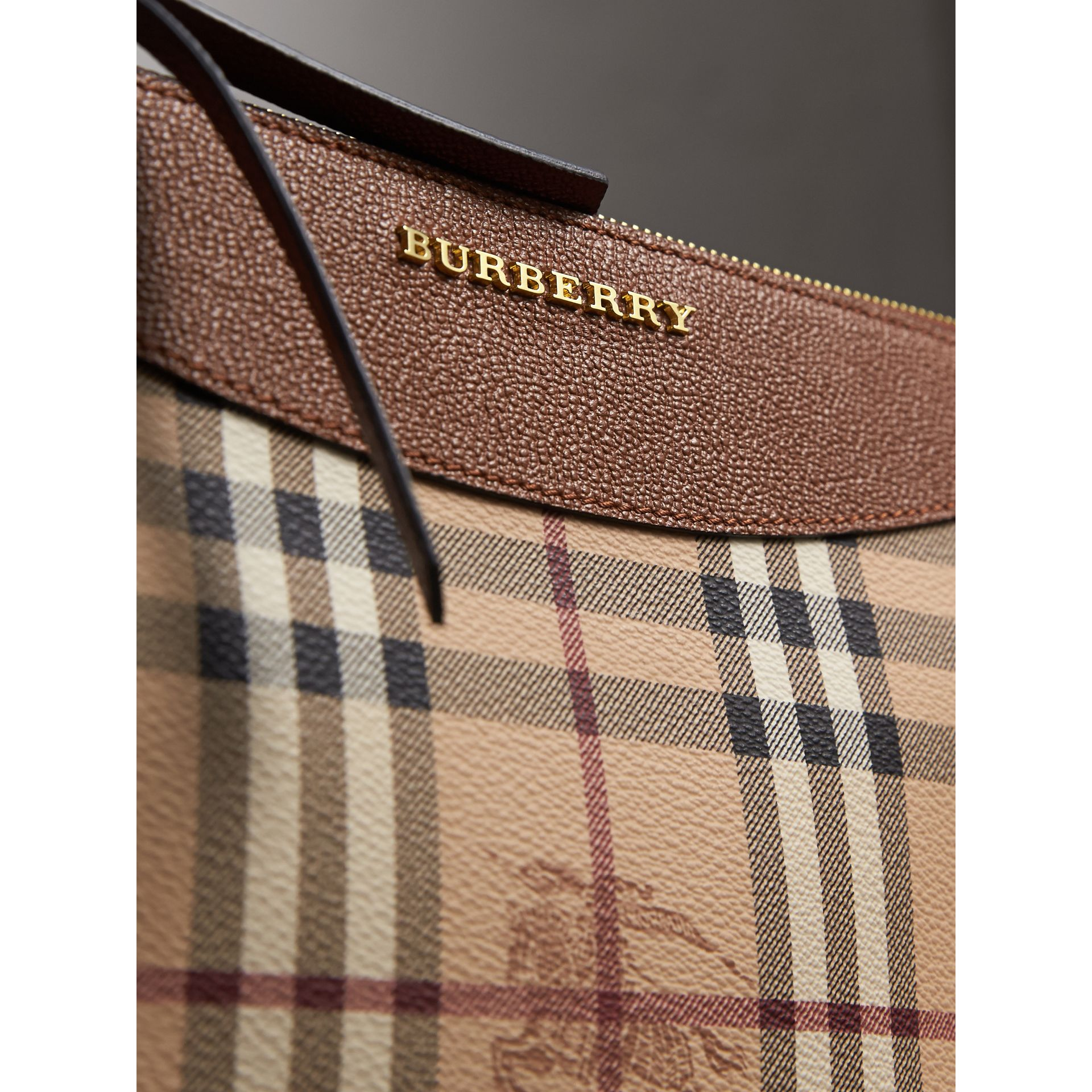 Haymarket Check and Two-tone Leather Clutch Bag in Bright Toffee/ Multicolour - Women | Burberry Singapore - gallery image 2
