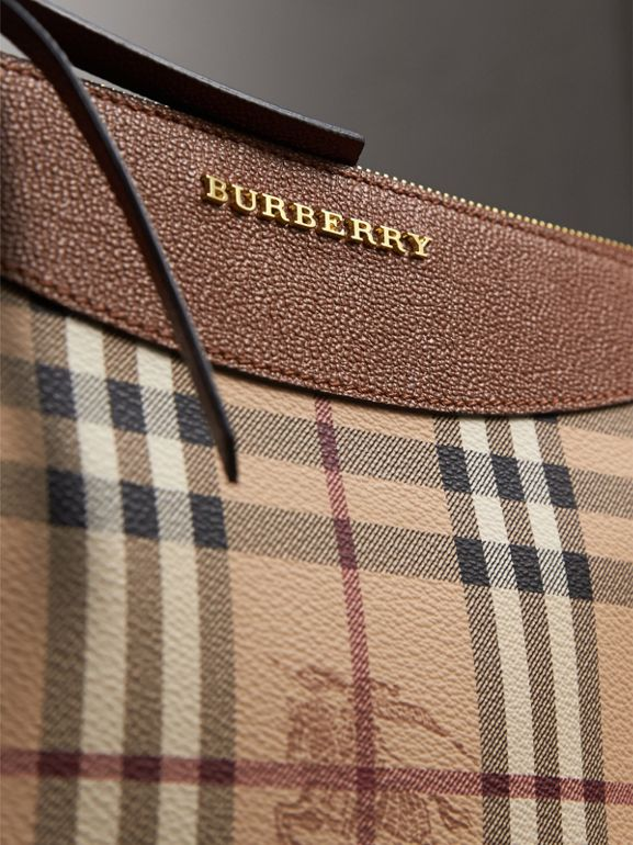 Haymarket Check and Two-tone Leather Clutch Bag in Bright Toffee/ Multicolour - Women | Burberry - cell image 1