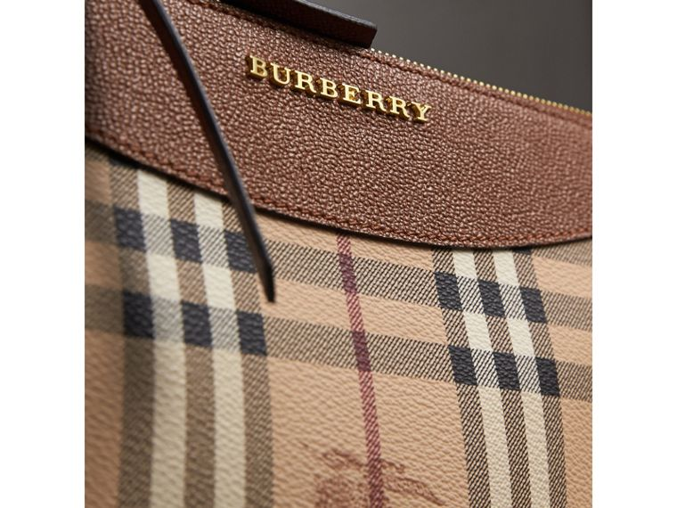 Haymarket Check and Two-tone Leather Clutch Bag in Bright Toffee/ Multicolour - Women | Burberry Singapore - cell image 1