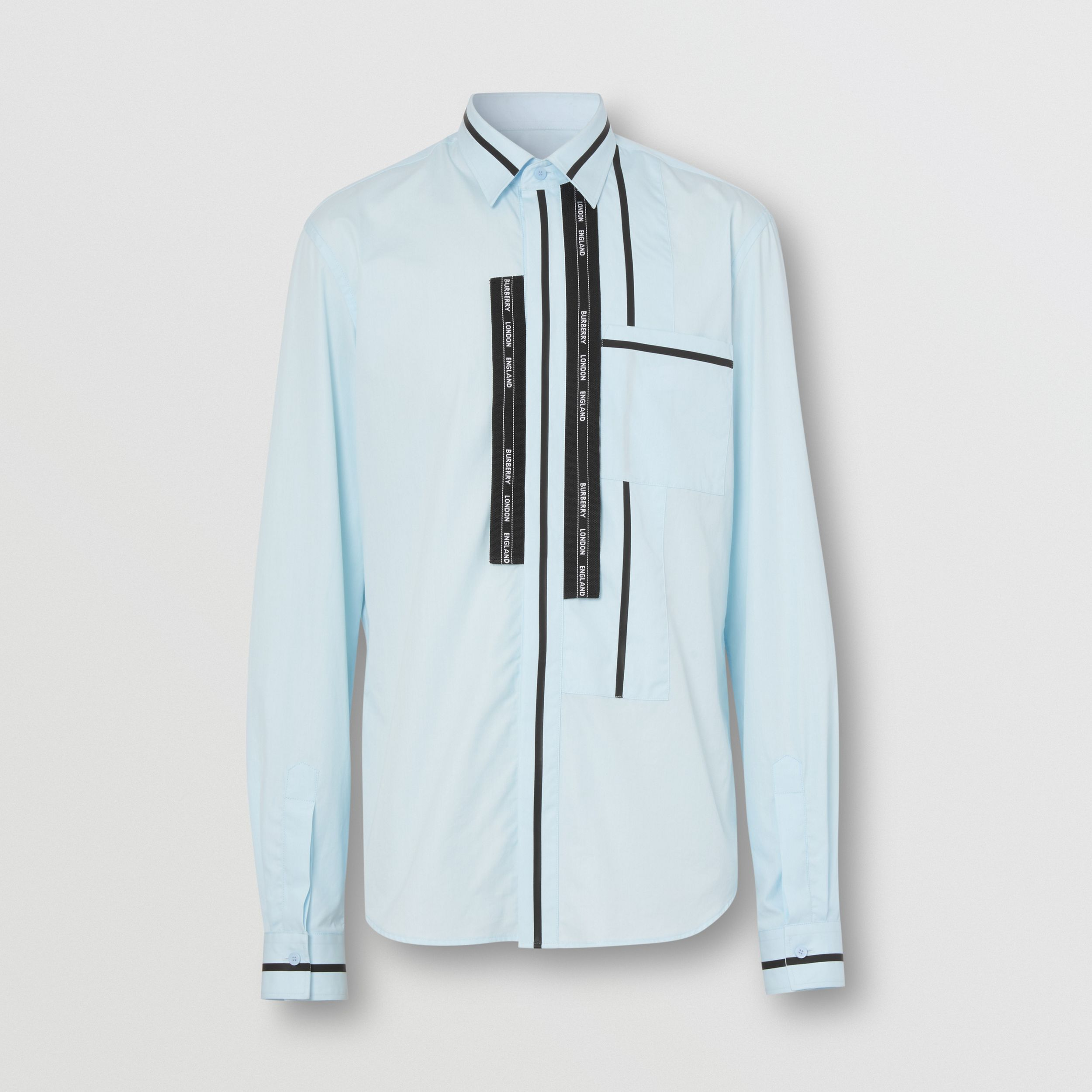 Classic Fit Logo Tape Detail Cotton Poplin Shirt in Pale Blue - Men | Burberry - 4