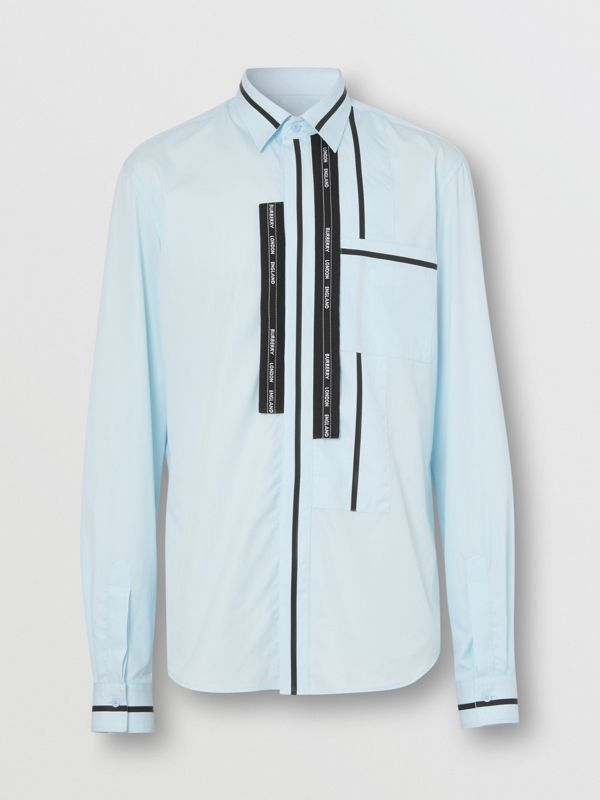 Classic Fit Logo Tape Detail Cotton Poplin Shirt in Pale Blue | Burberry - cell image 3