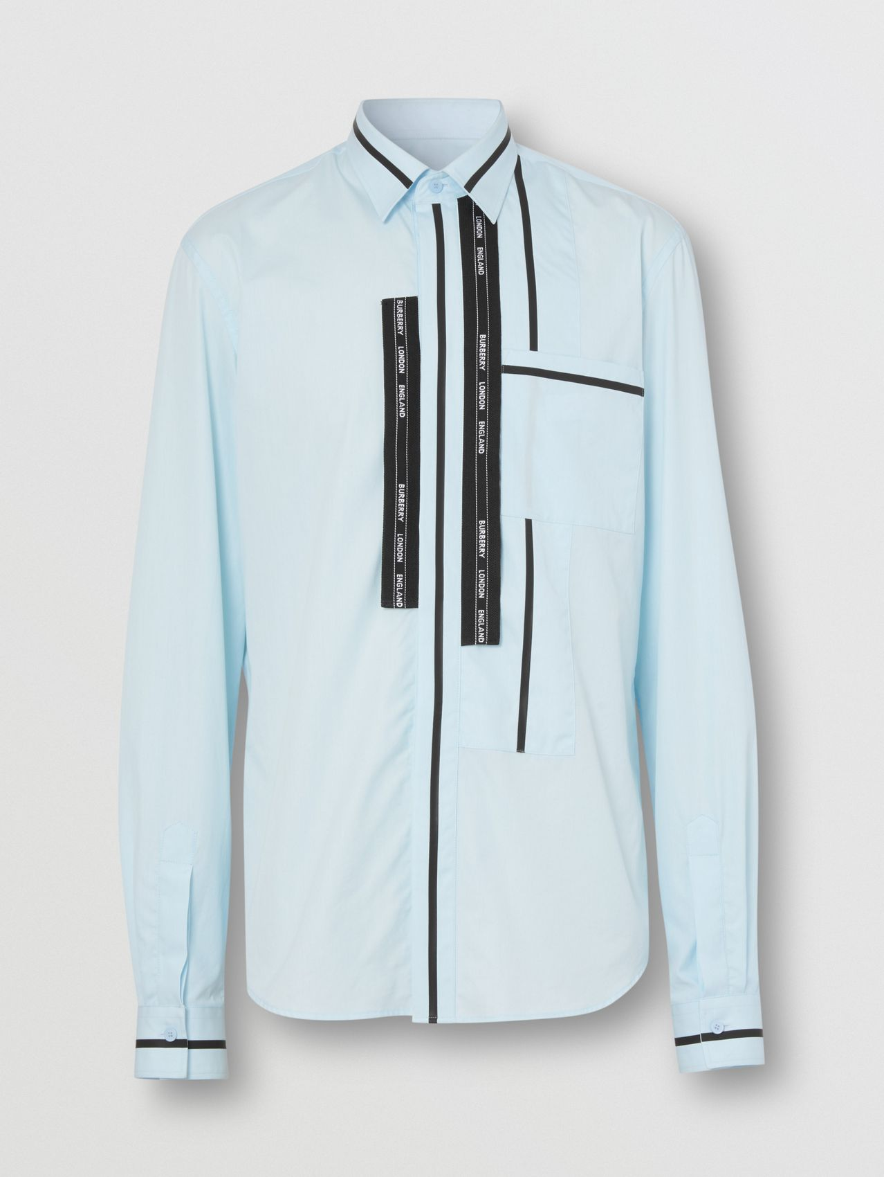 Classic Fit Logo Tape Detail Cotton Poplin Shirt in Pale Blue