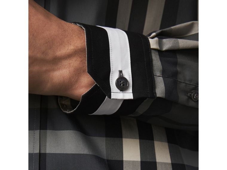 Striped Cuff Check Cotton Blend Shirt in Charcoal - Men | Burberry Singapore - cell image 1
