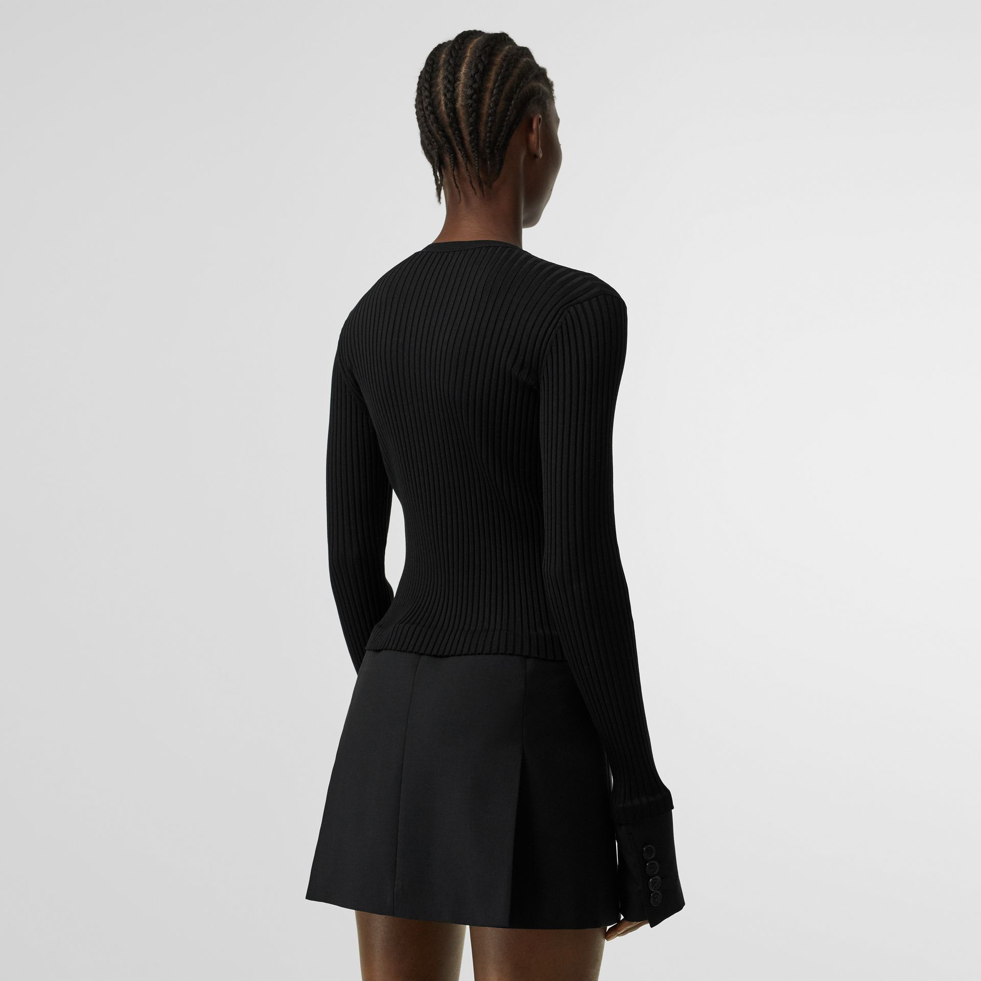 Tailored Hem Rib Knit Wool Mohair Dress in Black - Women | Burberry - gallery image 2