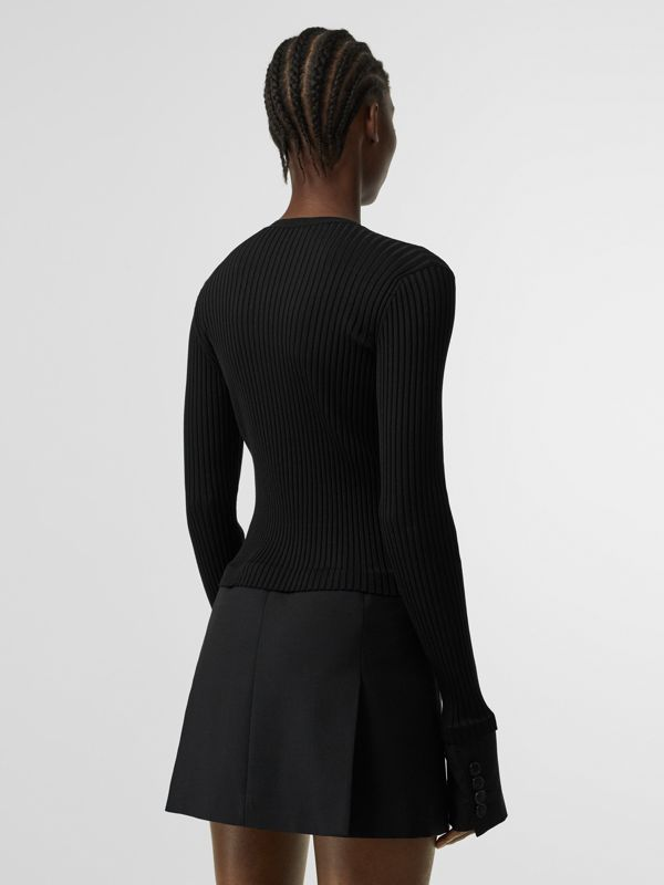 Tailored Hem Rib Knit Wool Mohair Dress in Black - Women | Burberry Singapore - cell image 2