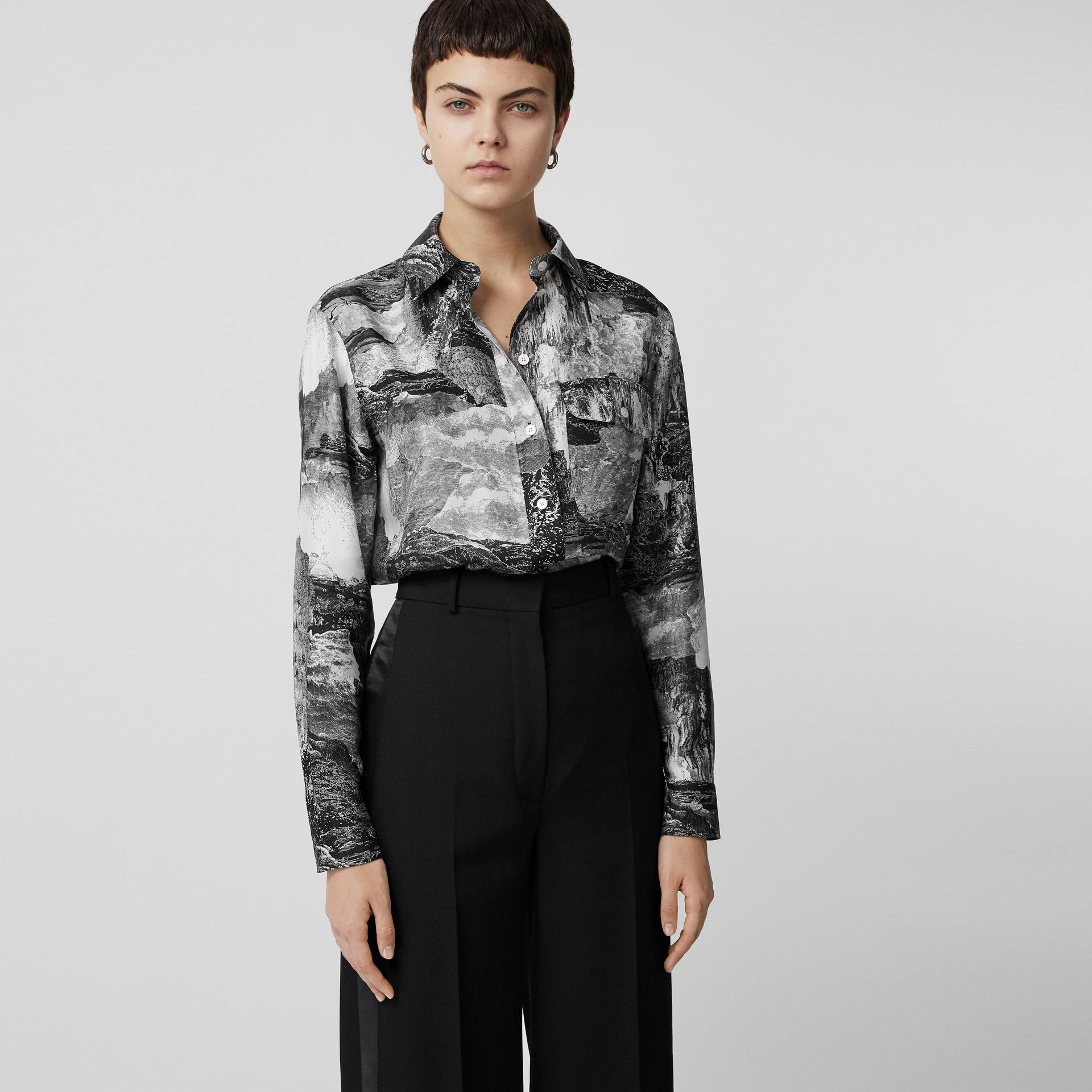 Dreamscape Print Silk Longline Shirt in Black - Women | Burberry Canada - gallery image 5