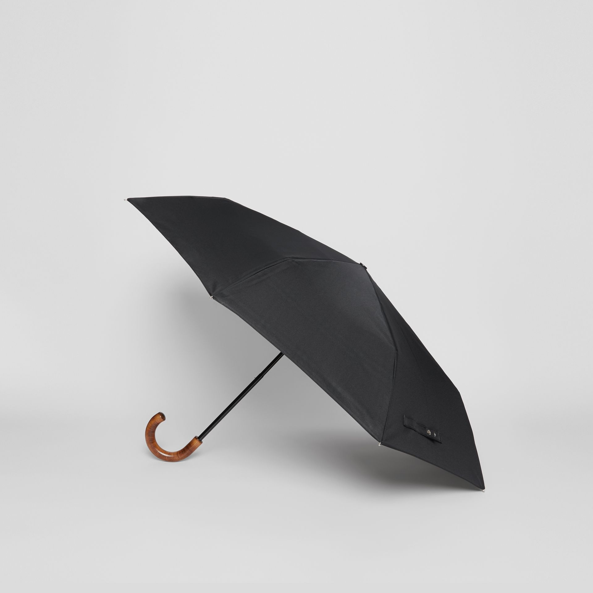 Vintage Check-lined Folding Umbrella in Black | Burberry - gallery image 3