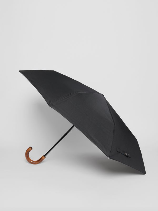 Vintage Check-lined Folding Umbrella in Black | Burberry - cell image 3