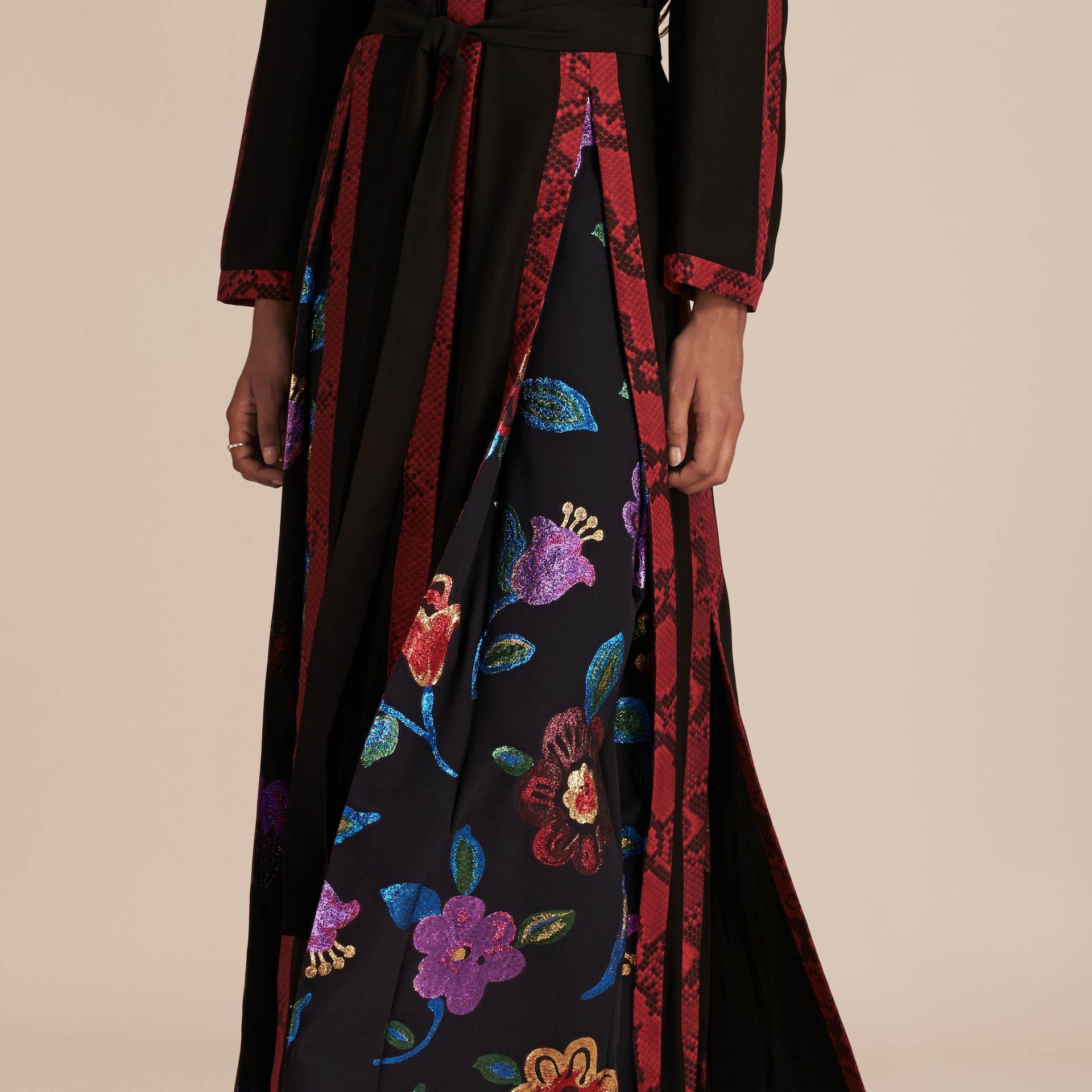 Black Floral Fil Coupé Trimmed Silk Wrap Gown - gallery image 5