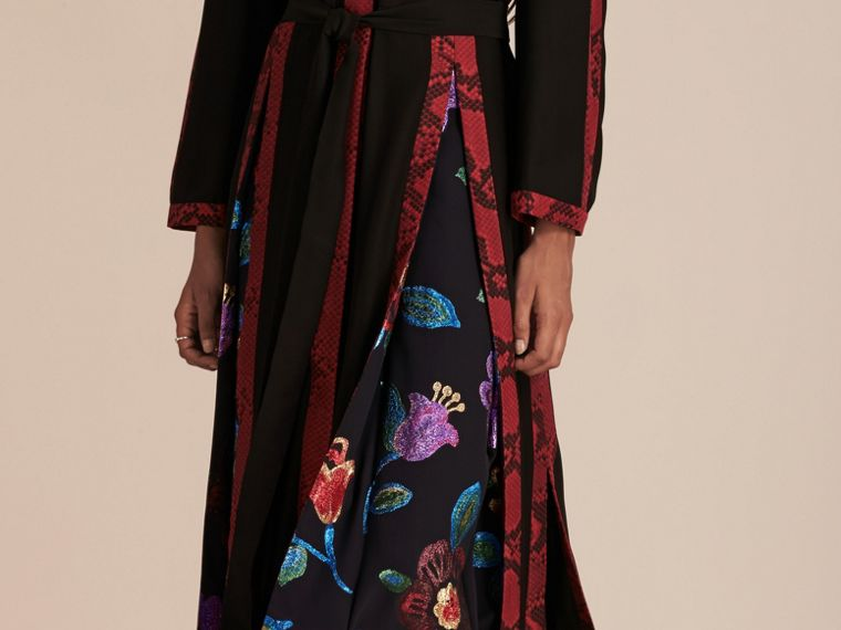 Black Floral Fil Coupé Trimmed Silk Wrap Gown - cell image 4