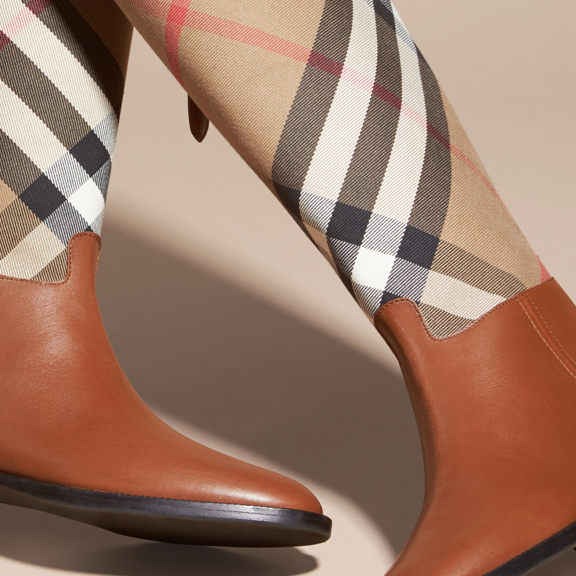 House Check and Leather Riding Boots in Chestnut - Women | Burberry - gallery image 5