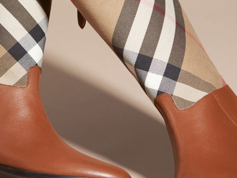 House Check and Leather Riding Boots in Chestnut - Women | Burberry - cell image 4
