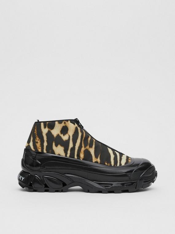 Zapatillas deportivas Arthur en nailon con estampado de leopardo (Cámel)
