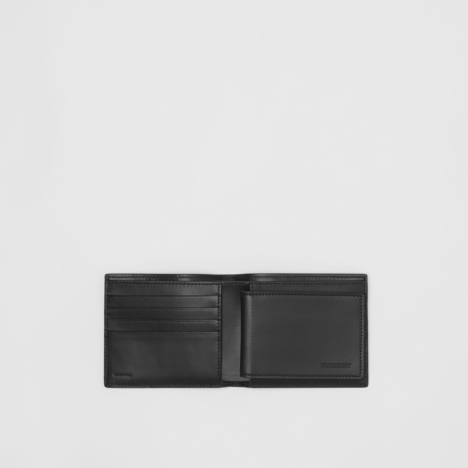 Monogram Leather Bifold Wallet with ID Card Case in Black - Men | Burberry Australia - gallery image 2