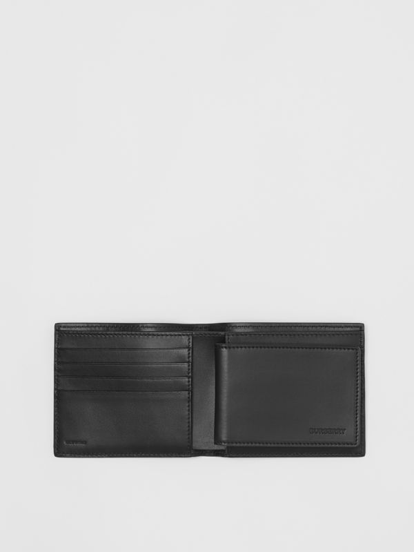 Monogram Leather Bifold Wallet with ID Card Case in Black - Men | Burberry Singapore - cell image 2