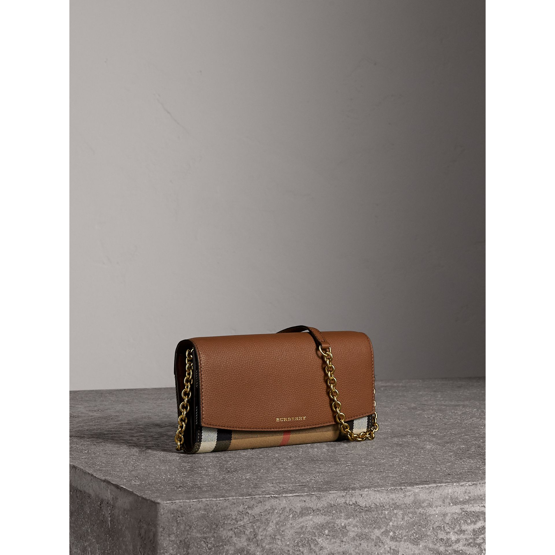 House Check and Leather Wallet with Chain in Tan - Women | Burberry Australia - gallery image 6