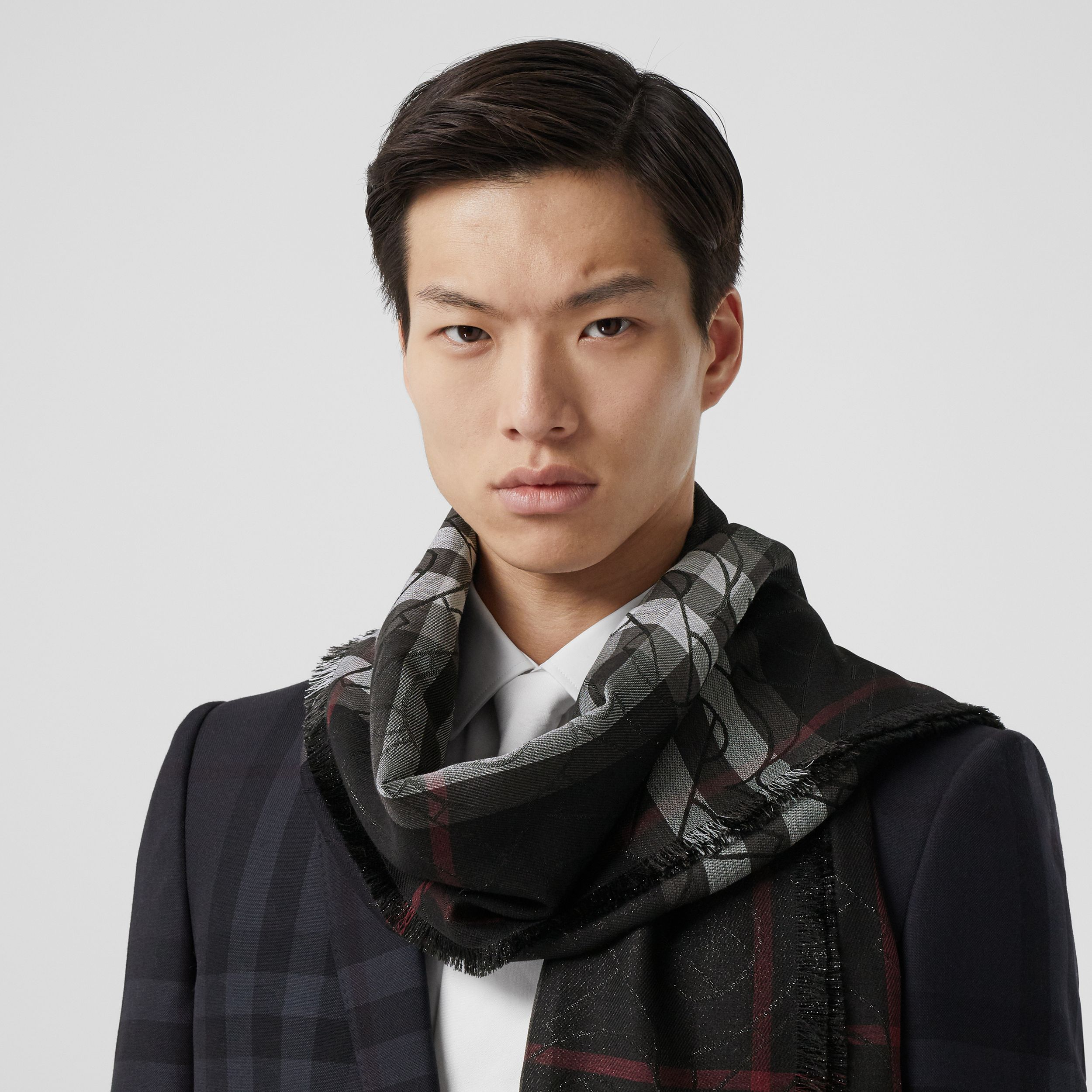 Metallic Monogram Lightweight Check Silk Blend Scarf in Black | Burberry - 4