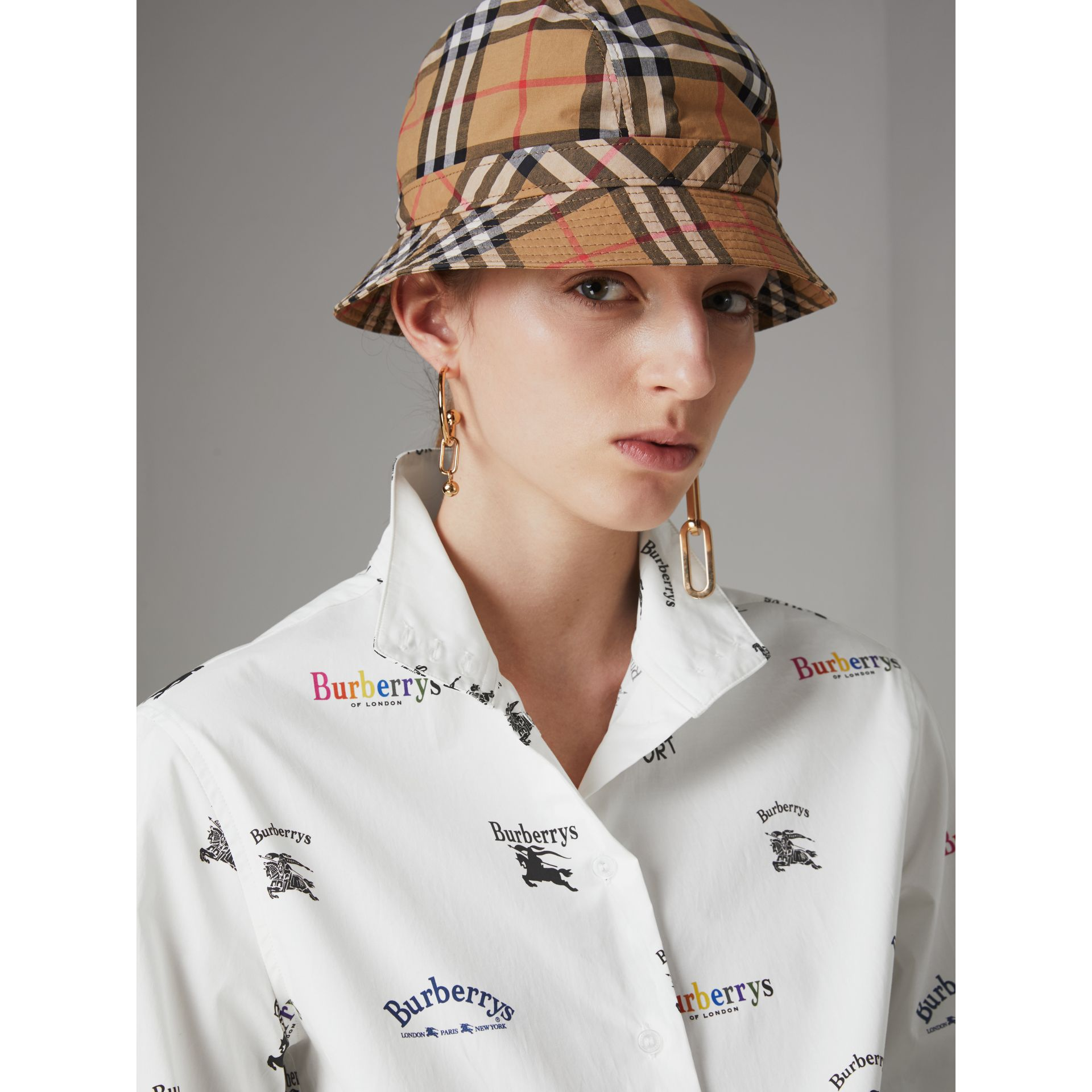 Triple Archive Logo Print Stretch Cotton Shirt in Multicolour - Women | Burberry - gallery image 1