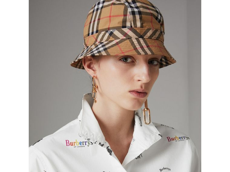 Triple Archive Logo Print Stretch Cotton Shirt in Multicolour - Women | Burberry - cell image 1