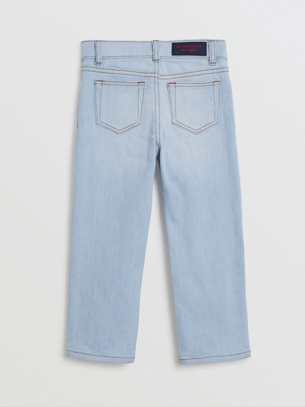Relaxed Fit Stretch Denim Jeans in Light Blue - Boy | Burberry - cell image 3