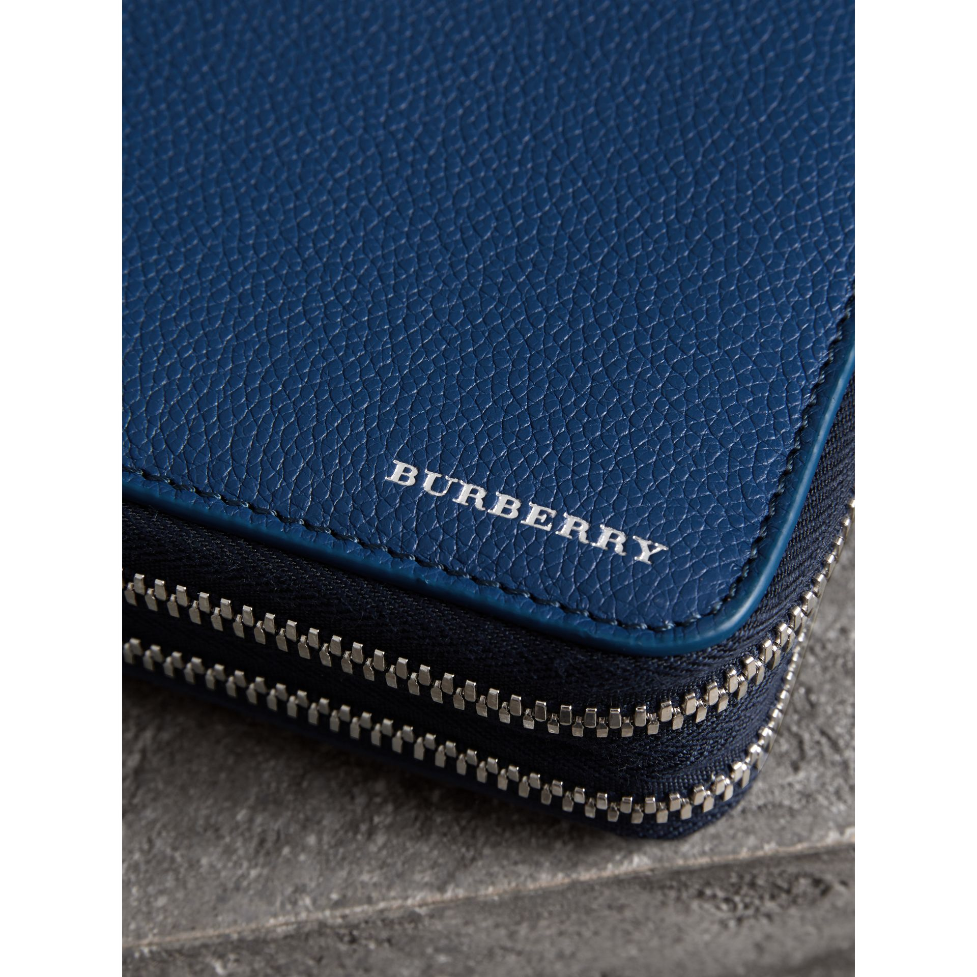 Grainy Leather Travel Wallet in Bright Ultramarine - Men | Burberry - gallery image 1