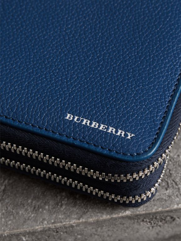 Grainy Leather Travel Wallet in Bright Ultramarine - Men | Burberry Hong Kong - cell image 1