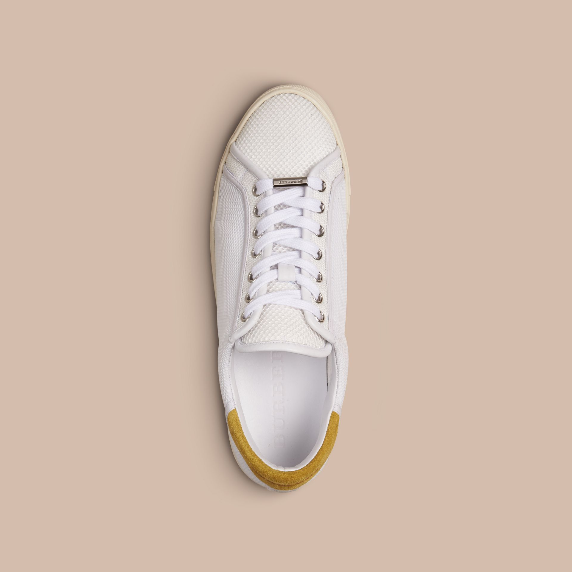 White/mustard yellow Mesh and Leather Trainers White/mustard Yellow - gallery image 2