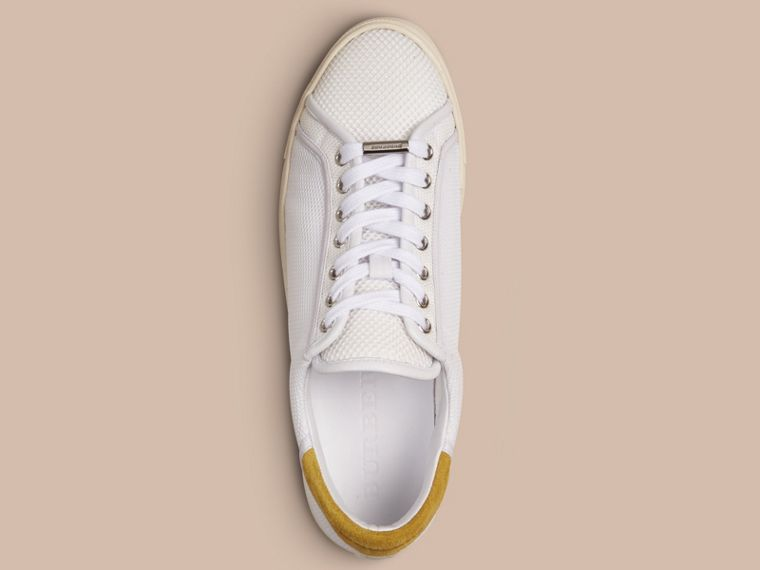 White/mustard yellow Mesh and Leather Trainers White/mustard Yellow - cell image 1