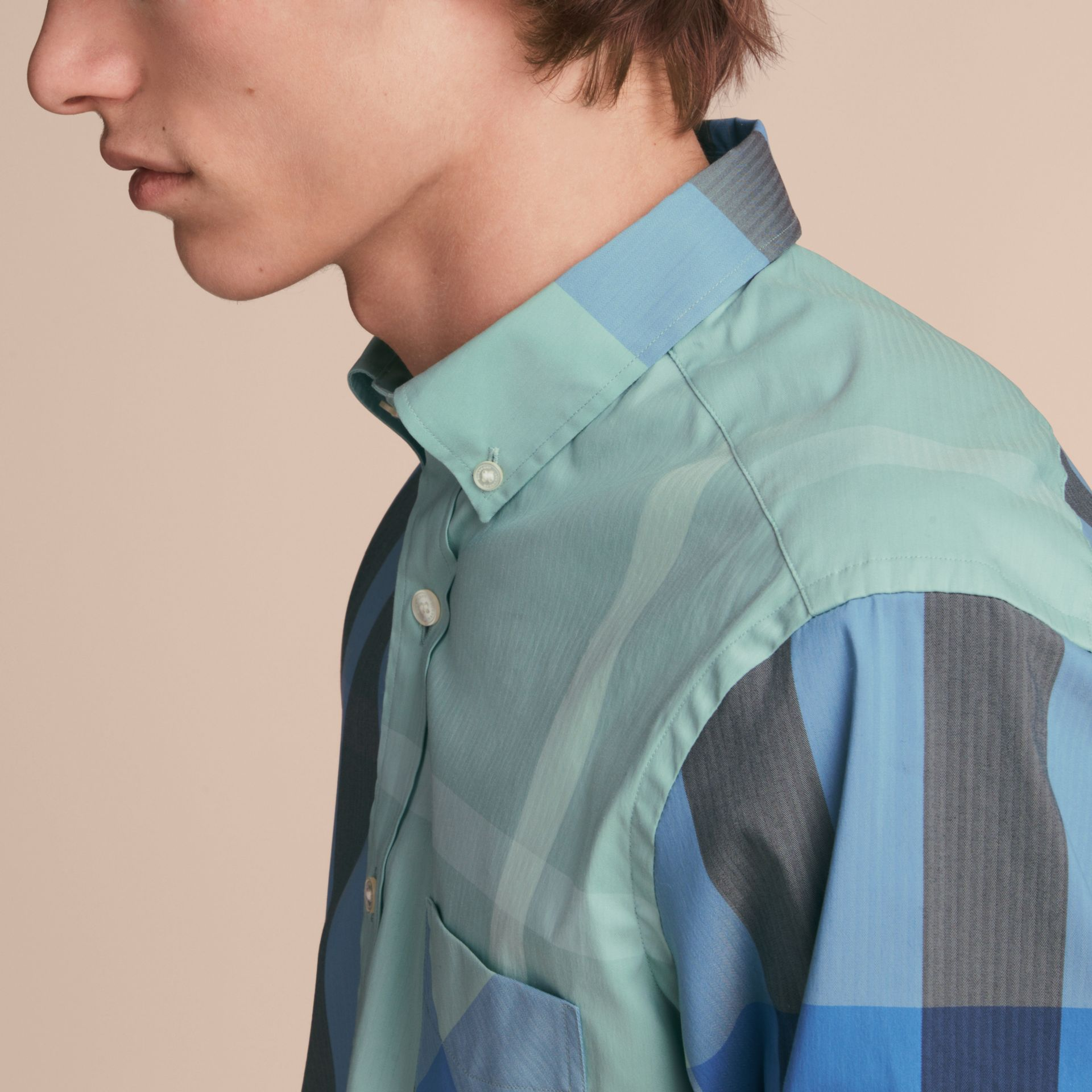 Button-down Collar Check Stretch Cotton Blend Shirt in Pale Opal - Men | Burberry - gallery image 5