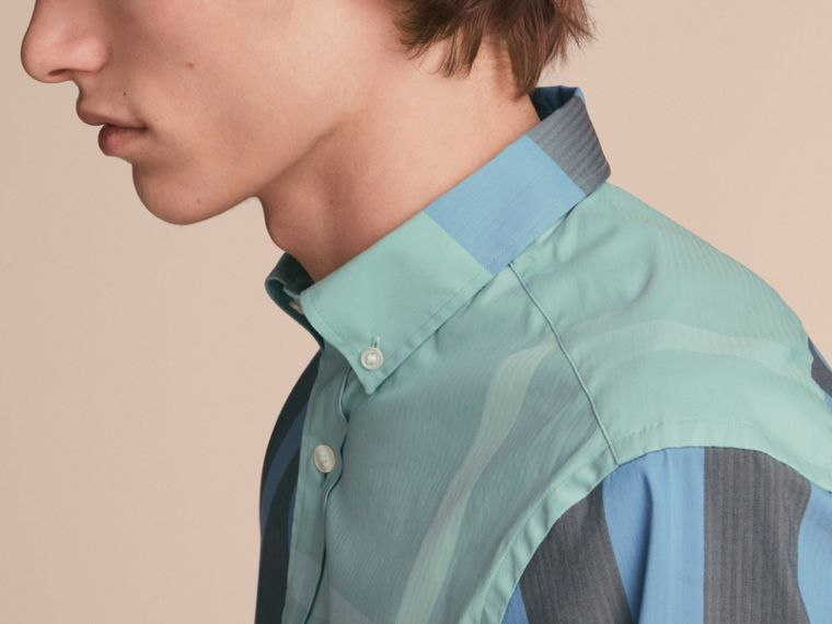 Button-down Collar Check Stretch Cotton Blend Shirt in Pale Opal - Men | Burberry - cell image 4