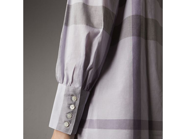 Grandad Collar Check Cotton Tunic Shirt in Pale Wisteria - Women | Burberry - cell image 1