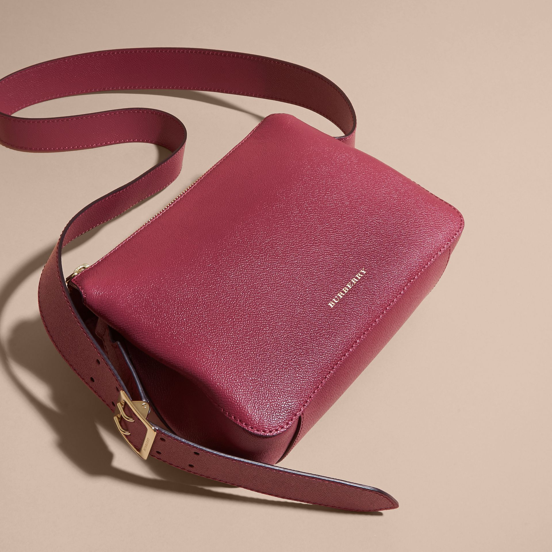 Buckle Detail Leather Crossbody Bag in Dark Plum - gallery image 6