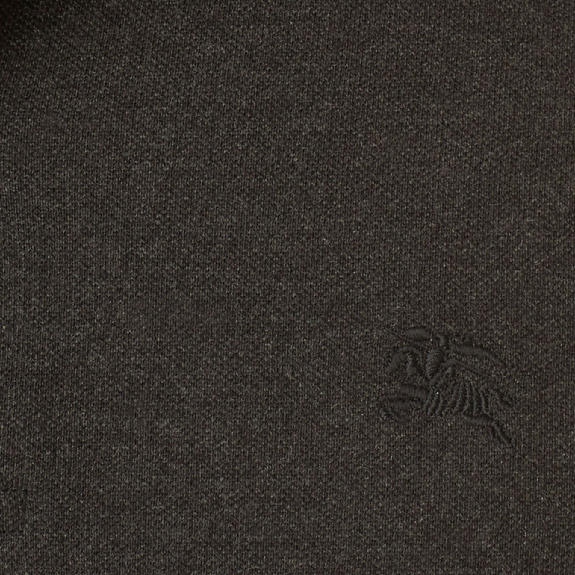 Check Placket Long Sleeve Polo Shirt Dark Charcoal Melange - gallery image 2