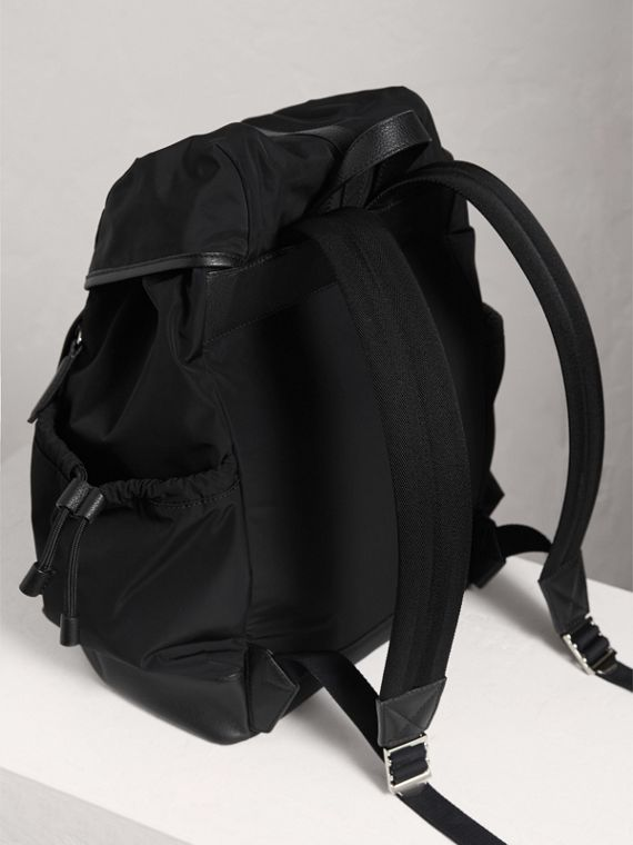 Leather Trim Baby Changing Rucksack in Black | Burberry Singapore - cell image 2
