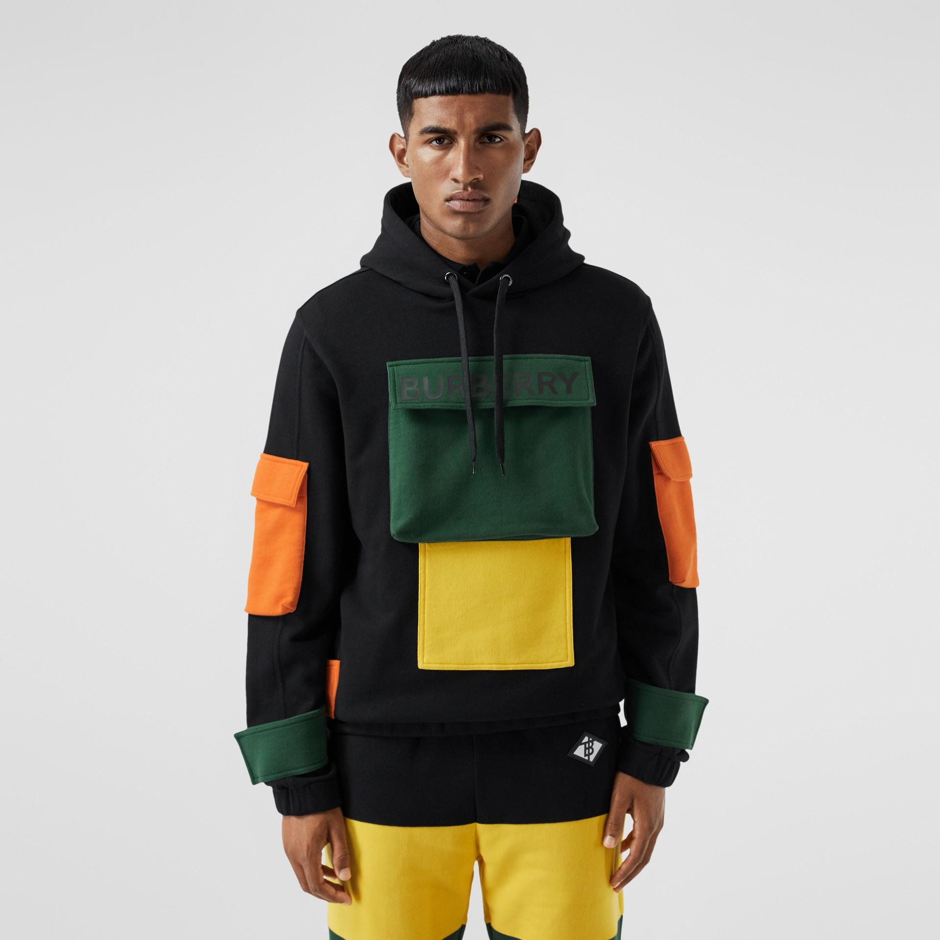 Logo Print Colour Block Cotton Hoodie in Black - Men | Burberry - gallery image 5