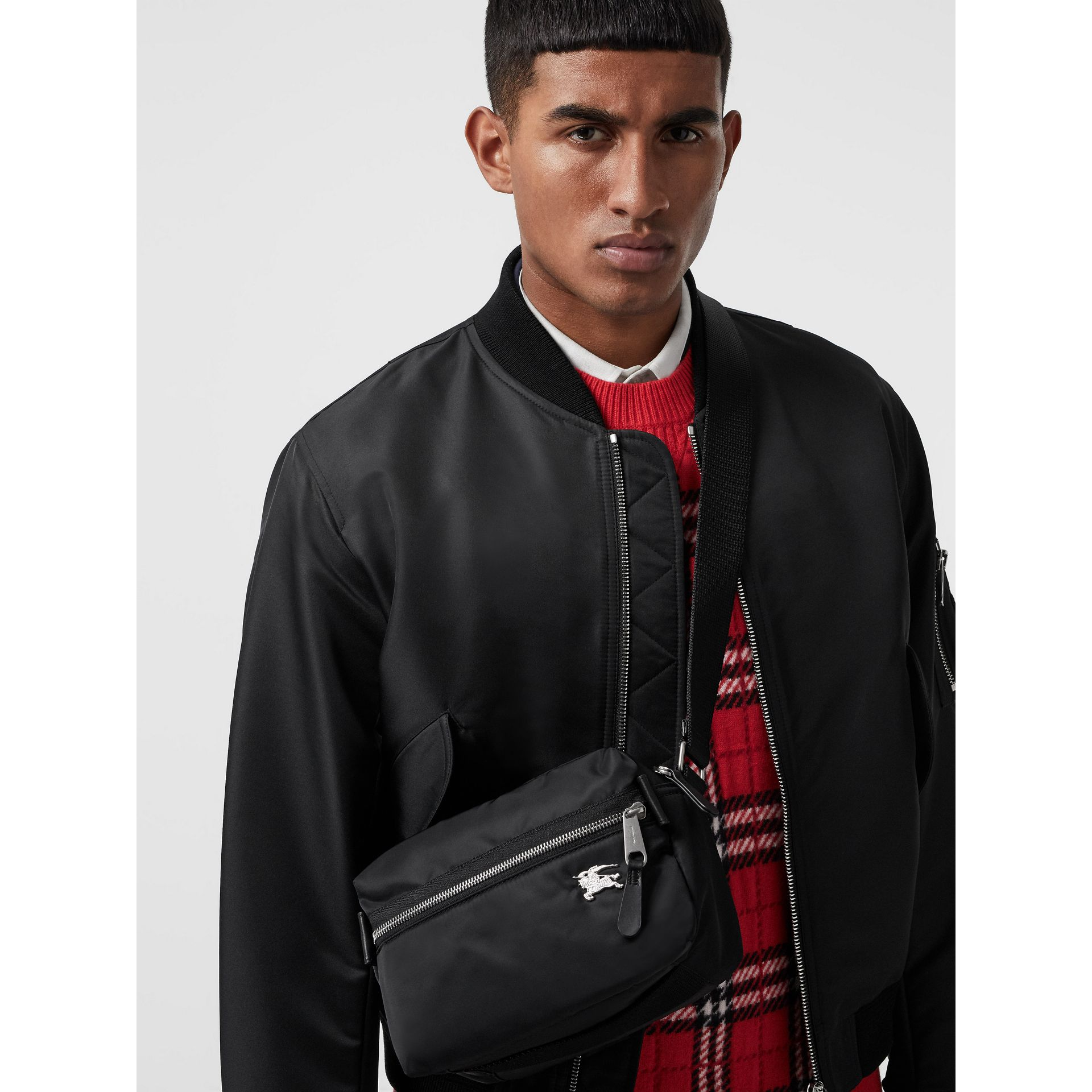 EKD Aviator Nylon and Leather Crossbody Bag in Black - Men | Burberry - gallery image 5