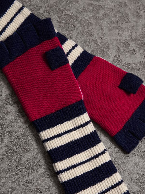 Geometric Cable Knit and Fair Isle Fingerless Gloves in Natural White | Burberry - cell image 2