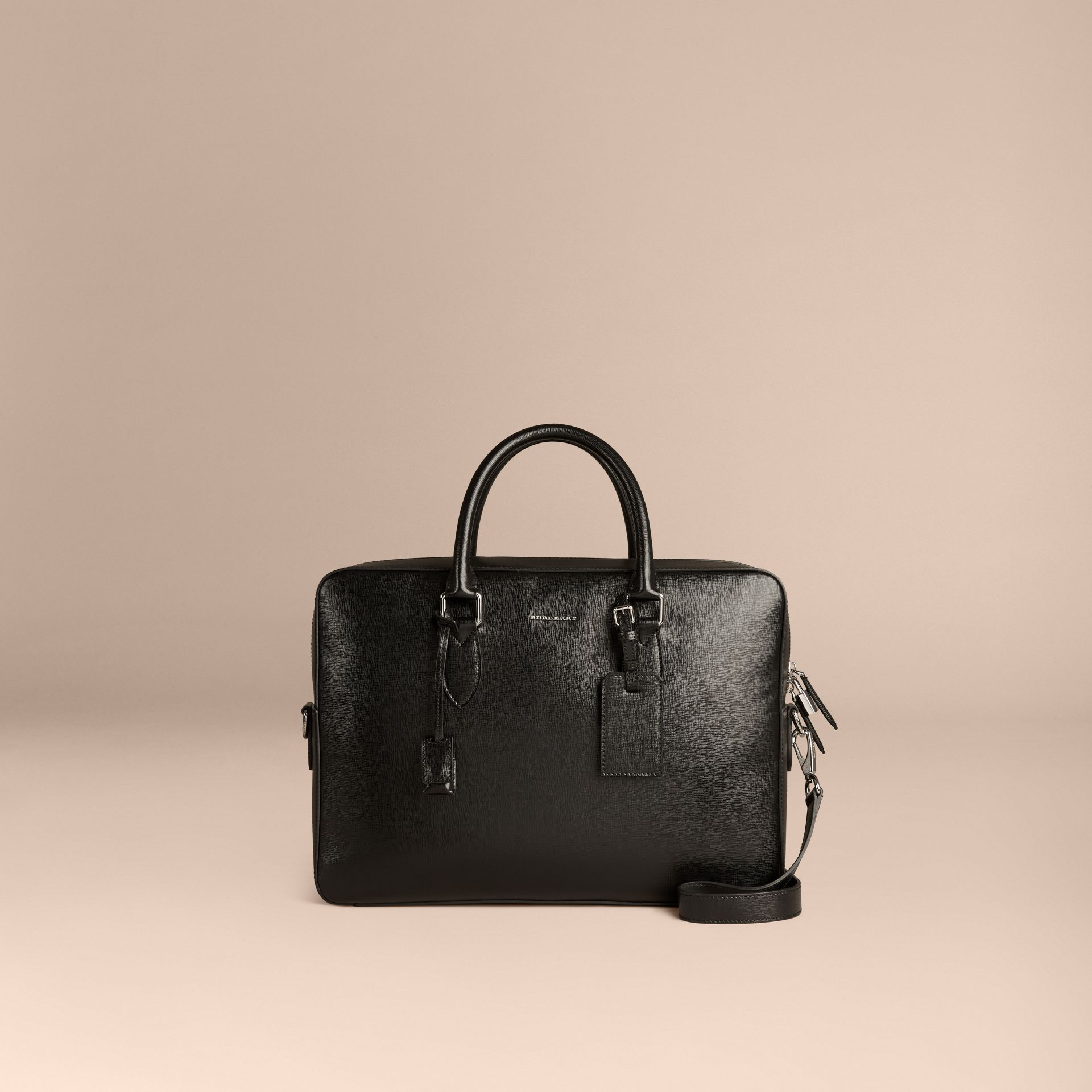Large London Leather Briefcase in Black - gallery image 6