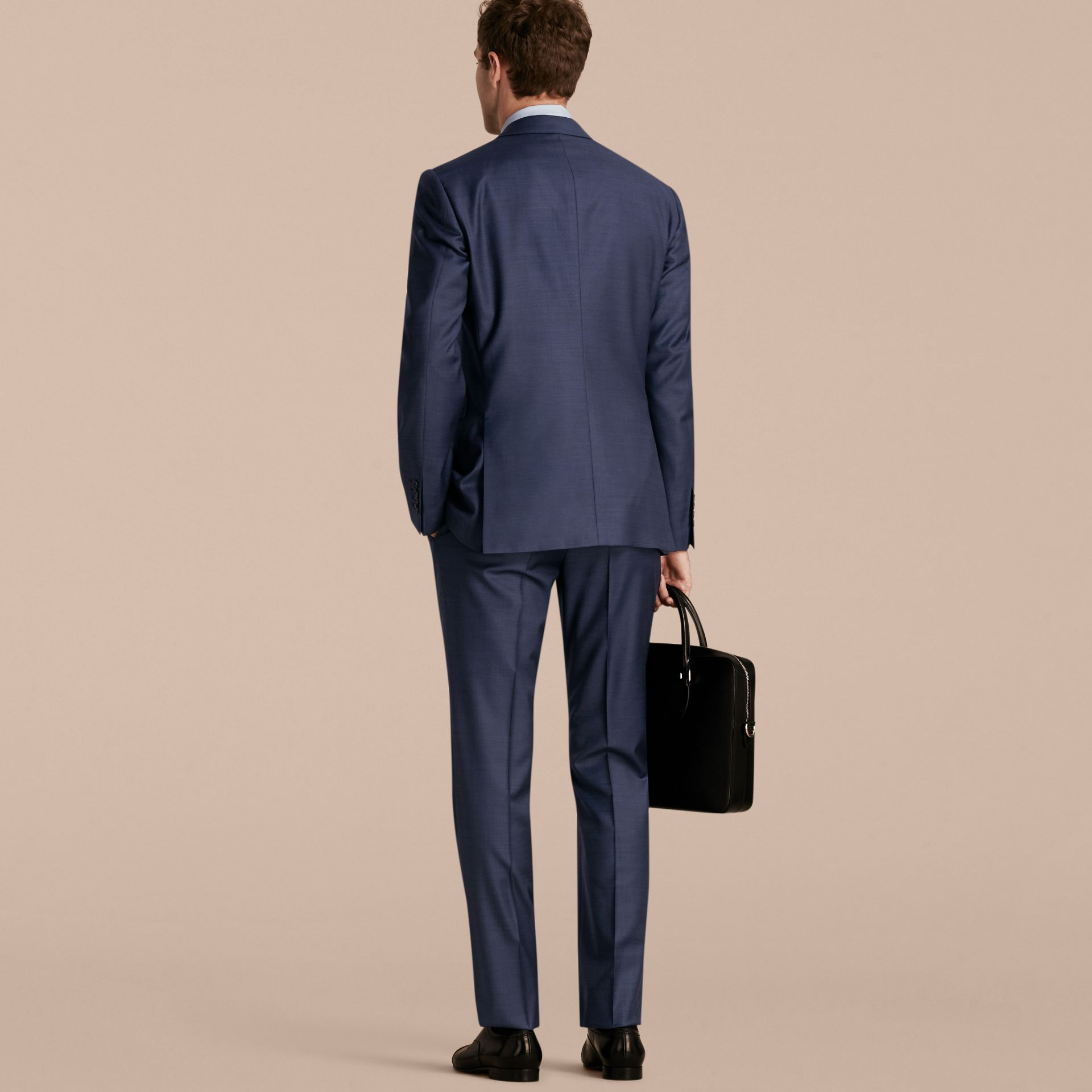 Modern Fit Travel Tailoring Sharkskin Wool Three-piece Suit - gallery image 3