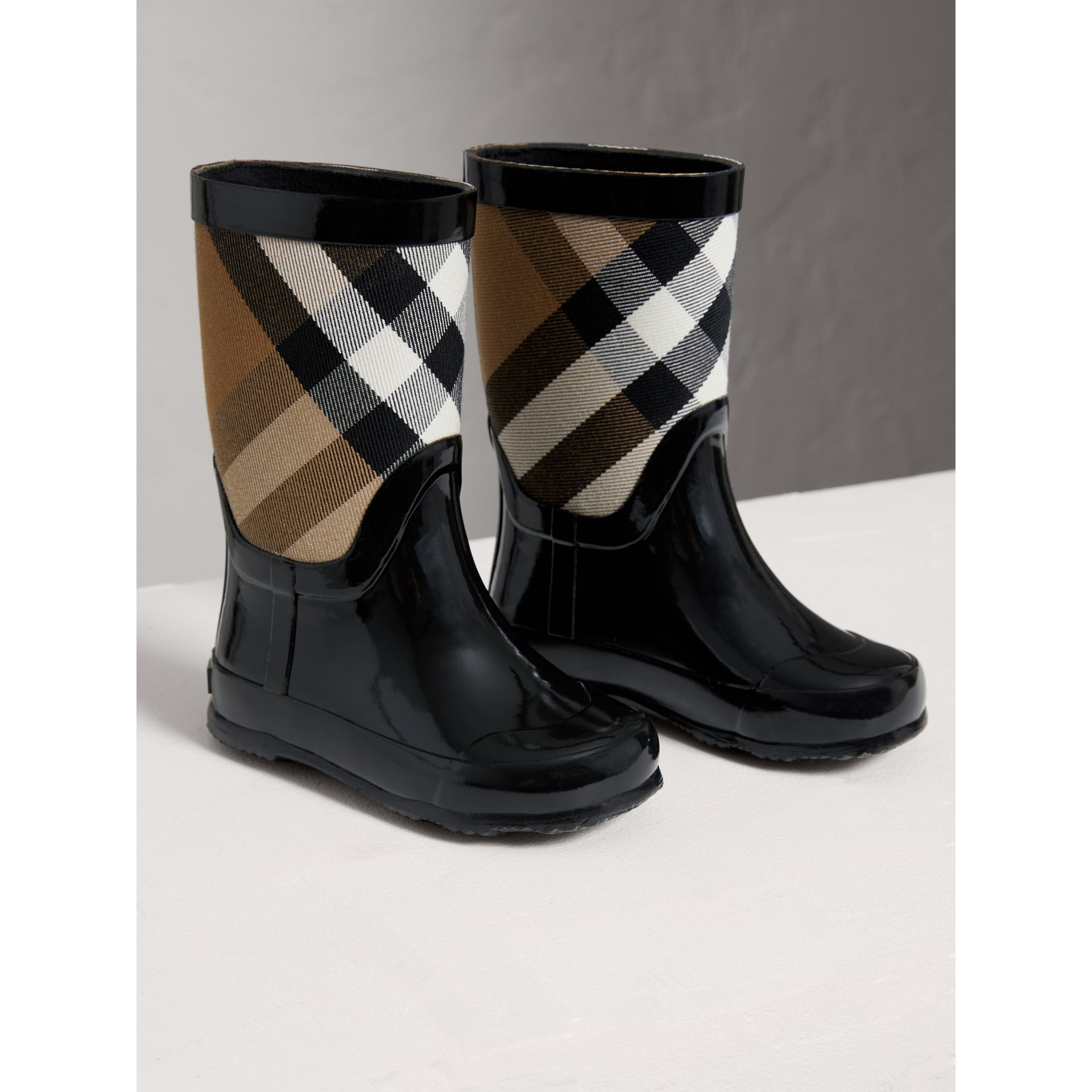 House Check Panel Rain Boots in Black | Burberry Singapore - gallery image 3