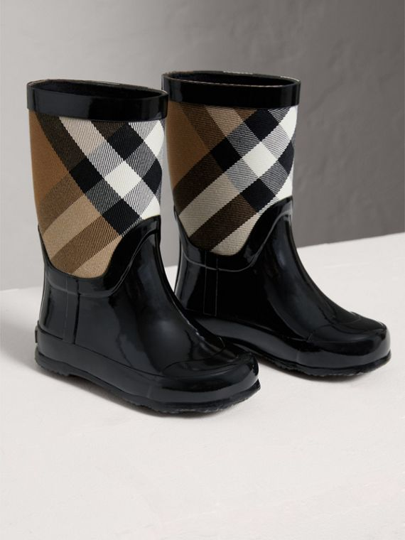 House Check Panel Rain Boots in Black | Burberry Singapore - cell image 3