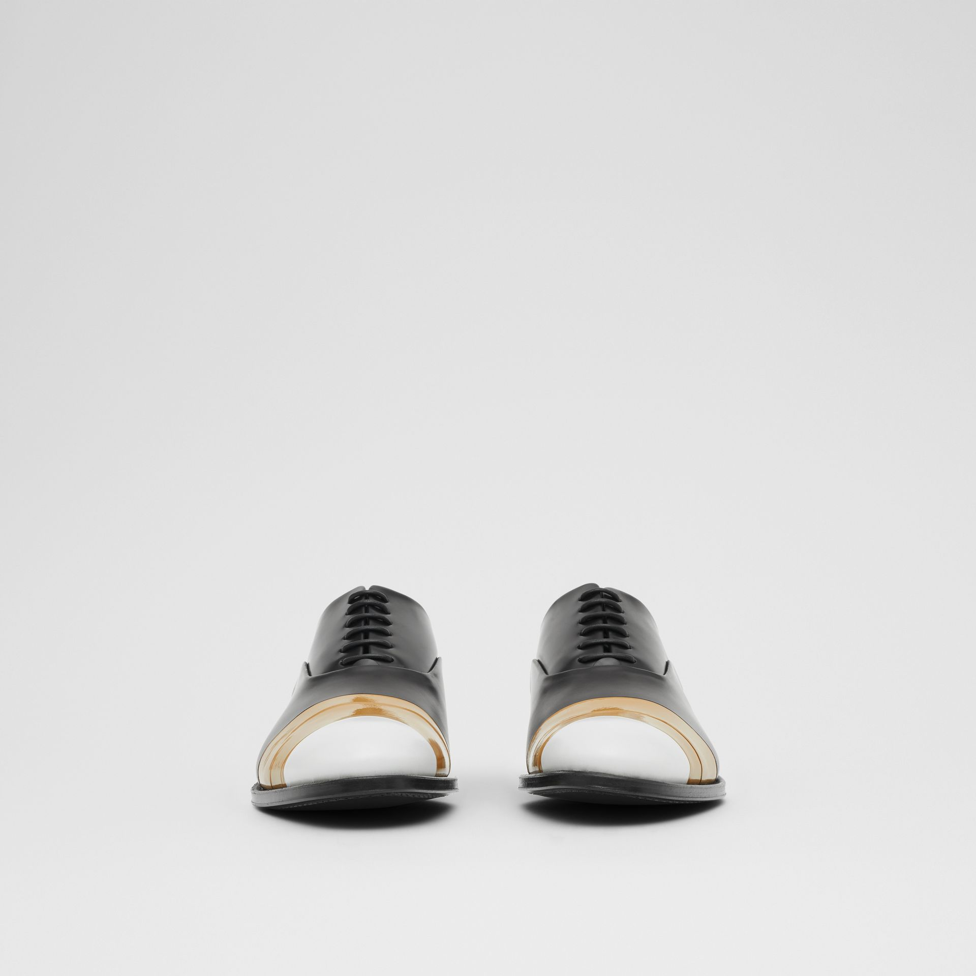 Tape Detail Leather Oxford Shoes in Black/optic White - Men | Burberry Australia - gallery image 2