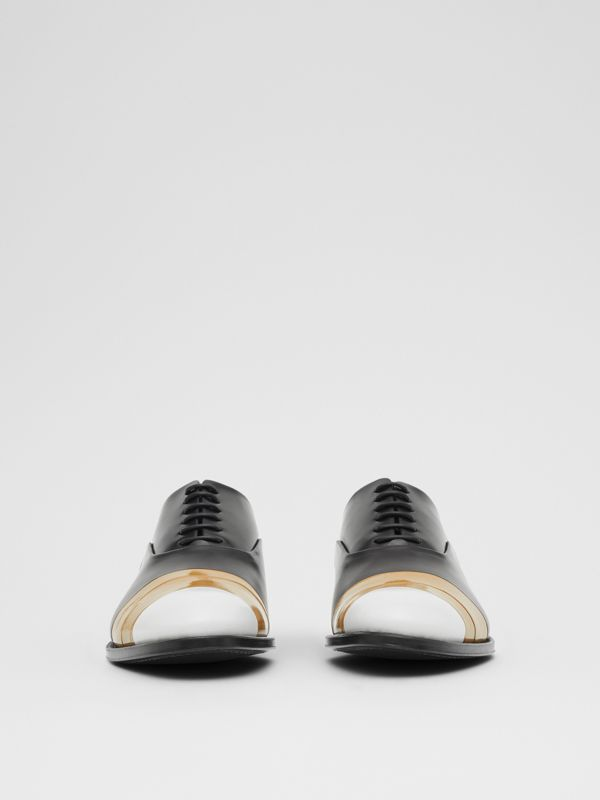 Tape Detail Leather Oxford Shoes in Black/optic White - Men | Burberry - cell image 2