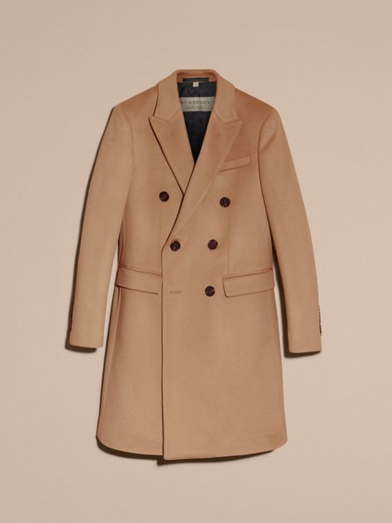 Camel Double-breasted Tailored Wool Cashmere Coat - cell image 3