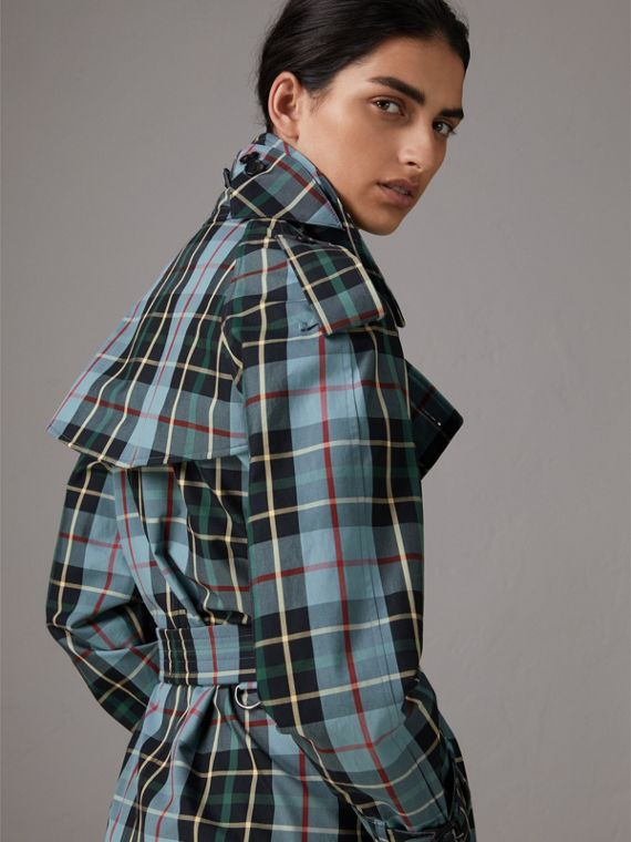 Tartan Cotton Gabardine Trench Coat in Cyan Blue
