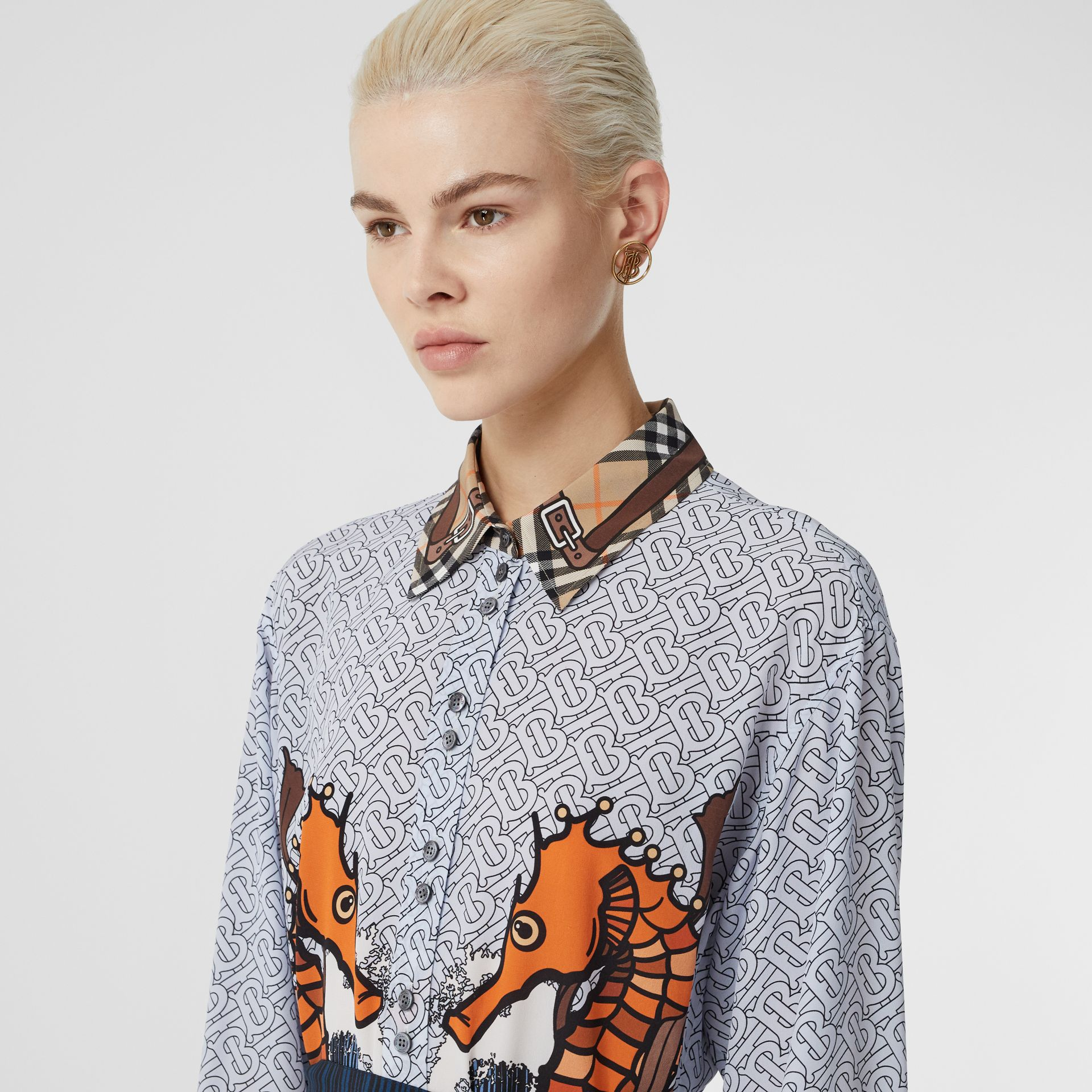 Seahorse and Monogram Print Silk Shirt Dress in Baby Blue - Women | Burberry United Kingdom - gallery image 1
