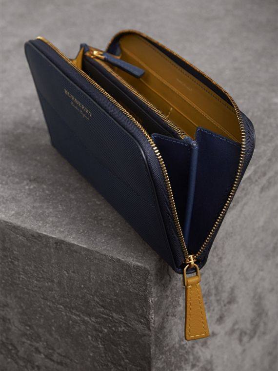 Two-tone Trench Leather Ziparound Wallet in Ink Blue/ochre Yellow - Women | Burberry Singapore - cell image 3