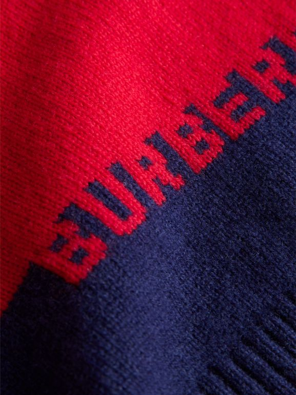 Logo Intarsia Cashmere Sweater in Bright Red - Children | Burberry United Kingdom - cell image 1