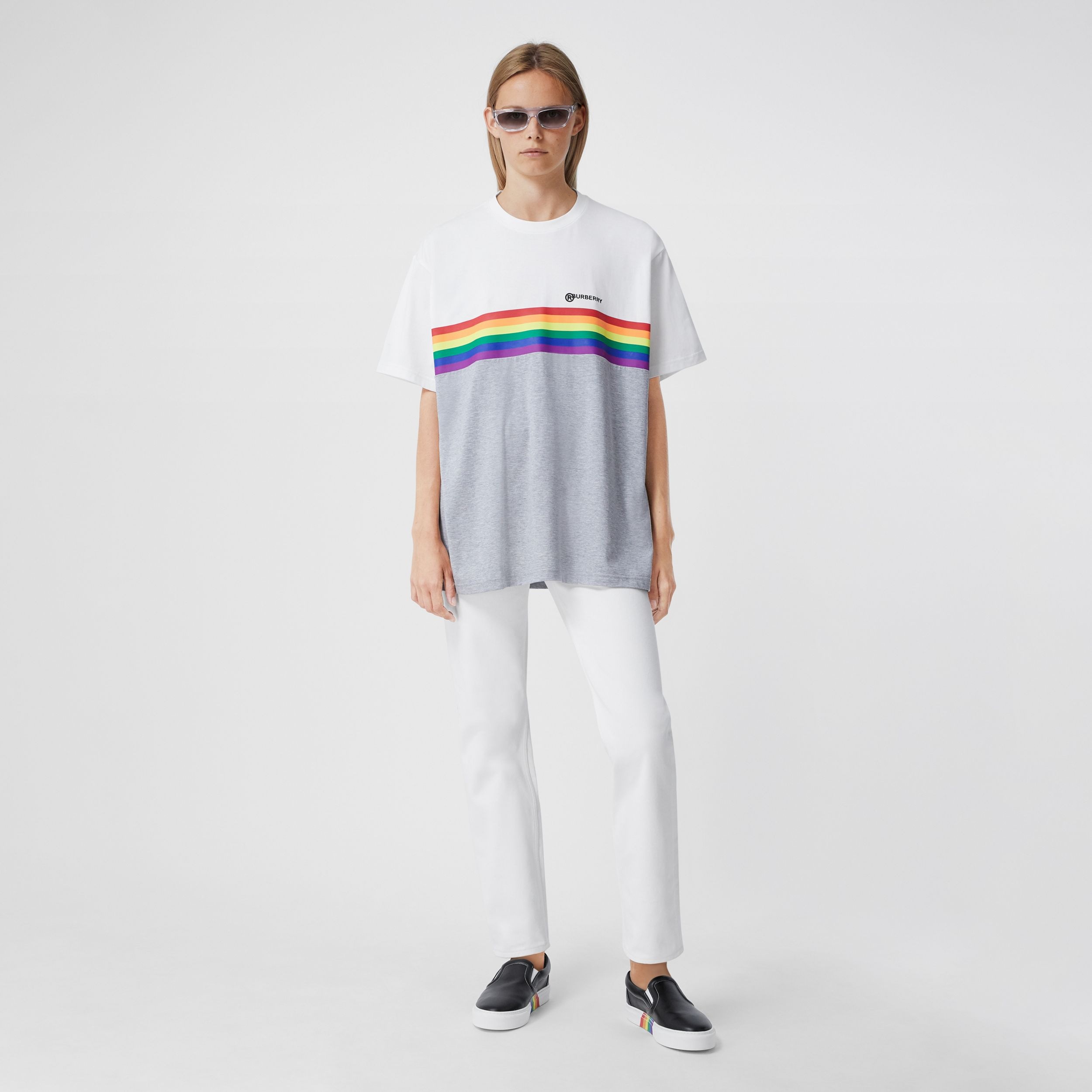 Rainbow Stripe Print Cotton T-shirt – Unisex in White | Burberry - 4